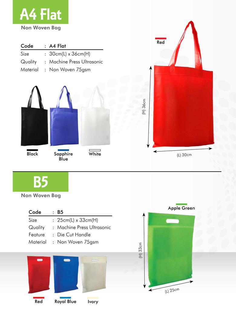 A4 Flat & B5 Size Non Woven Bag Printing Services