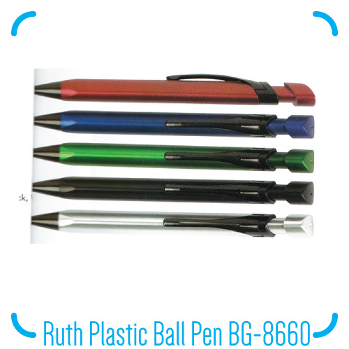 Ruth Plastic Ball Pen BG-8660 Colour: Red, Blue, Green, Black, Silver Packing: Individual OPP Bag Weight: 10g/pc